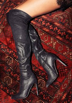 ab7fcb5f3218 Marnie Black Snake Print Over The Knee Boots. missyempire.com