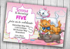 The Aristocats Party Invitation Printable by PartyPrintableInvite Printable Birthday Invitations, Party Printables, Party Invitations, Aristocats Party, 2nd Birthday, Birthday Parties, Ava, Creative, Kids