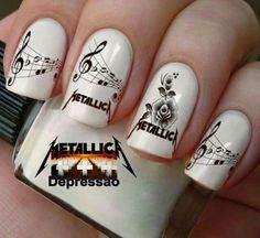 Artistic Pod - Store For Music Lovers Metallically nail art 🎵🎶🎶🎶❤️️😍 . Music Nail Art, Music Nails, Band Nails, Metallica Art, Country Nails, Funky Nail Art, Hot Pink Lips, Japanese Nail Art, Minimalist Nails