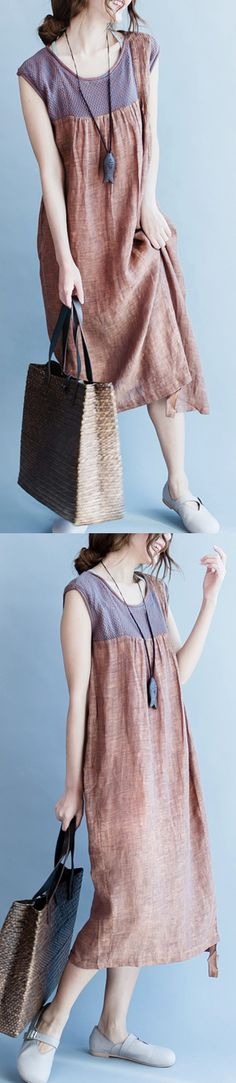 brown sleeveless maxi dress casual linen loose sundress patchwork women dress