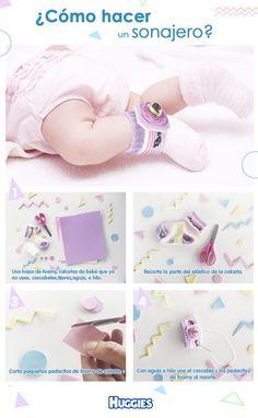 Puedes estimular a tu pequeño con sonidos de cascabeles con esta  linda idea. Además ayudarás a desarrollar su sentido de coordinación ojo-mano y  a ejercitar sus pequeñas piernas. Mira como hacer  estos sonajeros reciclando calcetines.