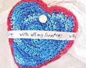 With All My Love - Heart Shaped Silk Tapestry for Mama - Blue Bird of Happiness