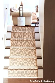 How to install runners on painted stairs. Complete tutorial with Dash and Albert runners.Patterned Carpet Runner on Stairs. Cool Diy Projects, Home Projects, Dash And Albert Runner, Painted Stairs, Painted Staircases, Spiral Staircases, Up House, Basement Remodeling, Carpet Runner