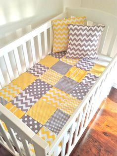 Baby  Crib Quilt  in modern grey and yellow..