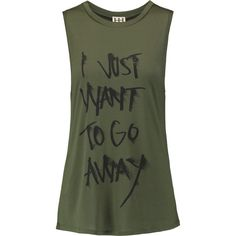Haute Hippie I Want To Go Away printed modal-jersey tank ($47) ❤ liked on Polyvore featuring tops, army green, loose fit tops, olive green top, loose fit tank, haute hippie tank and green tank top