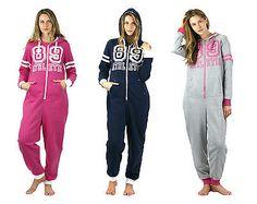 Womens-Ladies-Supersoft-Onezee-Onesies-Hooded-With-Logo-Nightwear-Sleepwear