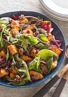 Sweet Potato Salad with Candied Nuts – In this recipe, sweet potatoes are baked until tender, and then tossed with cranberries and candied pecans to make this gloriously flavorful salad.