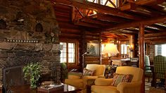 Bay Lake Lodge Living towards Hearth Cabin Homes, Log Homes, Log Home Designs, Bay Lake, Home Design Magazines, Cabins And Cottages, Cabin Plans, House Plans, Rustic Chic