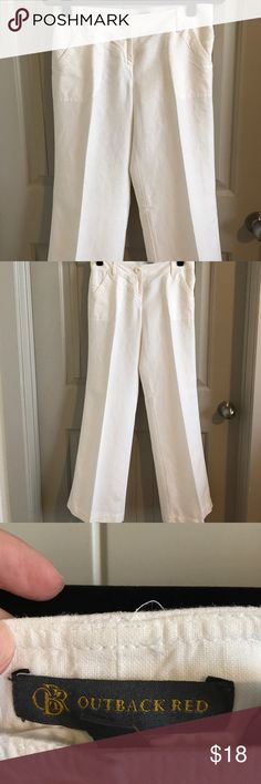 White linen pants Never worn white summer pants. 52% linen and 48% cotton. Freshly cleaned. Outback Red Pants