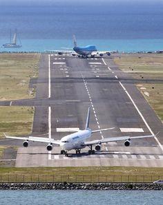 Two Airlines on Saint Maarten International Airport Runway (SXM) Saint Martin, Caribbean Island. Airport Design, Air Traffic Control, Commercial Aircraft, Civil Aviation, Air France, Air Travel, International Airport, Military Aircraft, Rotterdam