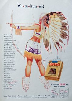 George Petty  art  Indian Girl  Old Gold Cigarettes  30 s Vintage Print Ad