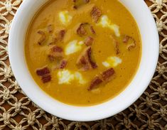 Pumpkin Soup with Bacon and Blue Cheese - Framed Cooks