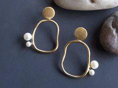 Circle Earrings,Earrings Geometric,Gift for Women,Gold Earrings,Geometric Jewelery,Minimalist Earrings, Gold Jewelery,Minimal Jewelery by MyLittleGardenDesign on Etsy