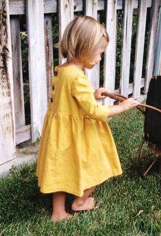 Handmade Mustard Linen Dress | HarrisonHandcraftsCo on Etsy