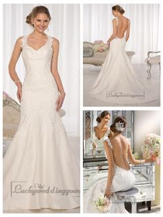 Straps Fit and Flare Sweetheart Lace Wedding Dresses with Low Open Back http://www.ckdress.com/straps-fit-and-flare-sweetheart-lace-wedding-  dresses-with-low-open-back-p-2005.html  #wedding #dresses #dress #Luckyweddinggown #Luckywedding #wed #clothing   #gown #weddingdresses #dressesonline #dressonline #bridaldresses