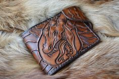 Купить Фентези стиль Кошелек натуральная кожа Зеленоглазый Дракон - кошелек, кошелек из кожи