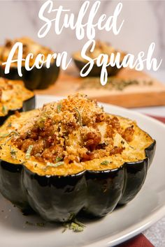 This stuffed acorn squash screams fall! Roasted acorn squash stuffed with Italian sausage, apples, sage, and topped with crunchy parmesan panko breadcrumbs! Stuffing Recipes, Sausage Recipes, Vegetable Recipes, Chicken Recipes, Cooking Recipes, Healthy Recipes, Keto Recipes, Healthy Food, Stuffed Food Recipes