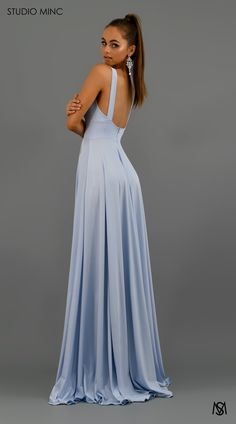 Apr 2020 - Elegant V-Neck Sleeveless Prom Dress Long Evening Gowns WIth Split V Neck Prom Dresses, Grad Dresses, Prom Dresses Online, Dance Dresses, Bridesmaid Dresses, Formal Gowns, Formal Prom, Blue Formal Dresses, Prom Dresses