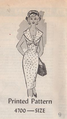1950s Anne Adams 4700 Sheath Dress Pattern Slim Fitting with high waist and vestee wide collar womens vinteage sewing pattern by mbchills