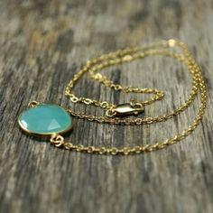 Glowing Aqua Chalcedony Necklace by jamieleeann.b