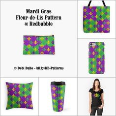 These fine products from Redbubble feature a Mardi Gras themed design of purple, green, and gold fleur-de-lis (lily flower) symbols arranged in a repeating pattern over alternating purple and green blocks. http://www.redbubble.com/people/debidalio/works/12121560-mardi-gras-fleurs-de-lis #homedecor #accessories #StudioDalio