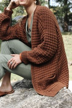 Campsite Waffle Cardigan Pattern — Two of Wands – Brooke Henderson - Crochet Cardigan Au Crochet, Gilet Crochet, Slouchy Cardigan, Knit Cardigan Pattern, Chunky Cardigan, Sweater Knitting Patterns, Knit Crochet, Crochet Woman, Crochet Sweaters