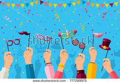 Carnival banner with hands holding carnaval masks. Vector illustration. Masquerade Concept, photo booth party poster with confetti