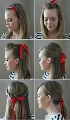 PinTutorials: Incredibly Chic Ways to Style Hair With a Ribbon Medium Hair Styles, Short Hair Styles, Braided Hairstyles, Cool Hairstyles, Ribbon Hairstyle, Hair Ribbons, Hair Day, Hair Looks, Hair Trends