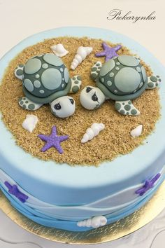 sea turtle decorations for cupcakes - Bing images Fondant Cakes, Cupcake Cakes, Indian Cake, Sea Cakes, Animal Cakes, Animal Birthday Cakes, Turtle Birthday, Turtle Party, Cake Boss
