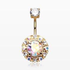 Golden Aurora Sparkle Belly Button Ring