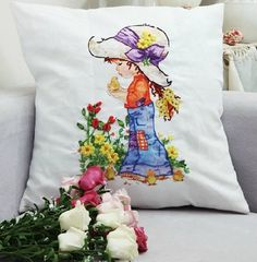 Blue Moon Needlecrafts - Mothers Day Gift, Little Princess Decorative Throw Pillow Case, Stamped Silk Ribbon Embroidery Kit, 18 By 18 Inches - http://needlework.diysupplies.org/embroidery/kits/blue-moon-needlecrafts-mothers-day-gift-little-princess-decorative-throw-pillow-case-stamped-silk-ribbon-embroidery-kit-18-by-18-inches/