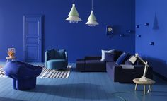 Décor do dia: sala de estar azul total - Casa Vogue | Décor do dia
