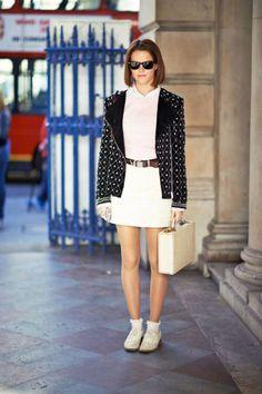 white dress + brown belt + black jacket