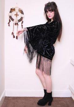 Black Devore silk Velvet Floral Fringe Jacket Kimono