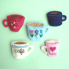 Handmade Felt Magnets Coffee Lovers by yuzucha on Etsy. These magnets are GREAT! Cute Crafts, Felt Crafts, Diy Crafts, Sewing Crafts, Sewing Projects, Craft Projects, Felt Diy, Handmade Felt, Etsy Handmade