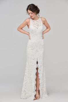 Wattershas created such a simple, yet beautiful bridal look with the Adia from the Willowby Collection! This stunning sheath gown features an open scooped back that flatters the waistline as well as a high center slit that frames the bride's legs with every step down the aisle!