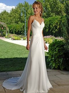 Cool Column Spaghtti Straps Sweetheart Beadings Chiffon Sweep Train Wedding Dress