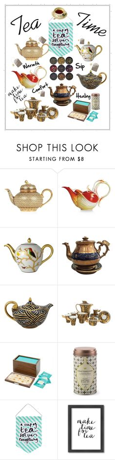 """""""Tea Time"""" by oliveraelisa ❤ liked on Polyvore featuring interior, interiors, interior design, home, home decor, interior decorating, Franz Collection, Bernardaud, Versace and LINLEY"""