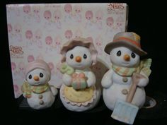 Precious Moments-VERY RARE Set Of 3 Snowmen-Family-Limited Edition 2000