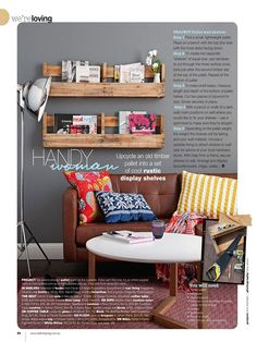 Pallet Shelves! They would look great painted too...  Poppytalk: 5 Fresh Home Office Ideas