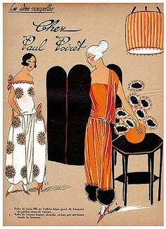 Paul Poiret white dress for jeunes filles, and women's flame-colour ensemble with fur; fashion illustration for 'Les Idées Nouvelles: chez Paul Poiret'.