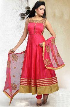 Pink Art Silk Churidar #Wedding #Anarkali #Suit with Dupatta