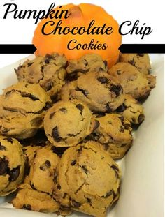 Pumpkin Chocolate Chip Cookies. Only 4 ingredients. Better than store bought and SO delicious and moist.  Easy recipe. Fall baking. Thanksgiving dessert. Christmas treats. DIY. Recipe.