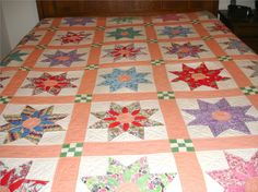 Antique Colonial Garden Feed Sack Quilt