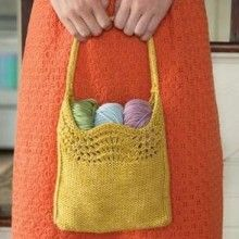 Quick knitting project! Perfect little bag for spring and summer. Two skein knitting pattern