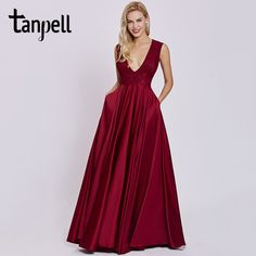 2c6c4f206639 Tanpell sexy v neck evening dress rust red sleeveless floor length a line  gown cheap women