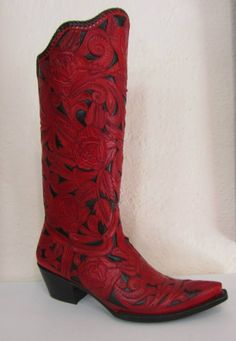 Hand tooled cowboy boots, Cock O the Walk The hand carved red leather here is just smashing - I'd so wear these.
