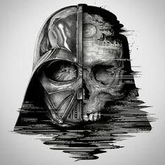 The dark side of Darth Vader. - Star Wars Death Star - Ideas of Star Wars Death Star - The dark side of Darth Vader. Star Wars Tattoo, Tatoo Star, War Tattoo, Sith Tattoo, Death Star Tattoo, Tattoo Legs, Book Tattoo, Star Wars Fan Art, Star Trek