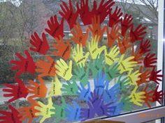rainbow with hands Classroom Displays, Classroom Themes, School Classroom, Rainbow Art, Rainbow Room, Rainbow Colors, Preschool Art, Kindergarten Activities, Romper Room