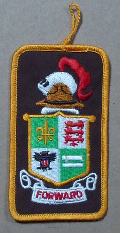 "BSA Boy Scouts America Forward Crest Shield Hat Knight Training Patch Badge  Measures 4 3/8"" long and 2 3/8"" wide  Excellent Condition:  No rips, holes, tears, or stains.   Never affixed to a garment."